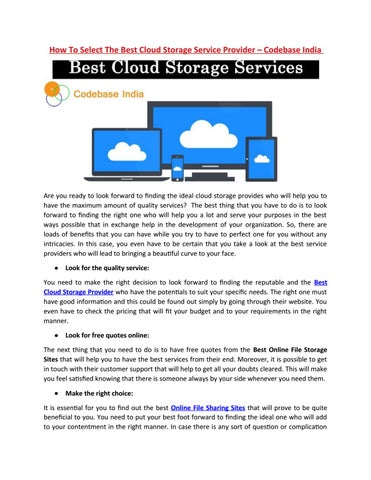 How To Select The Best Cloud Storage Service Provider