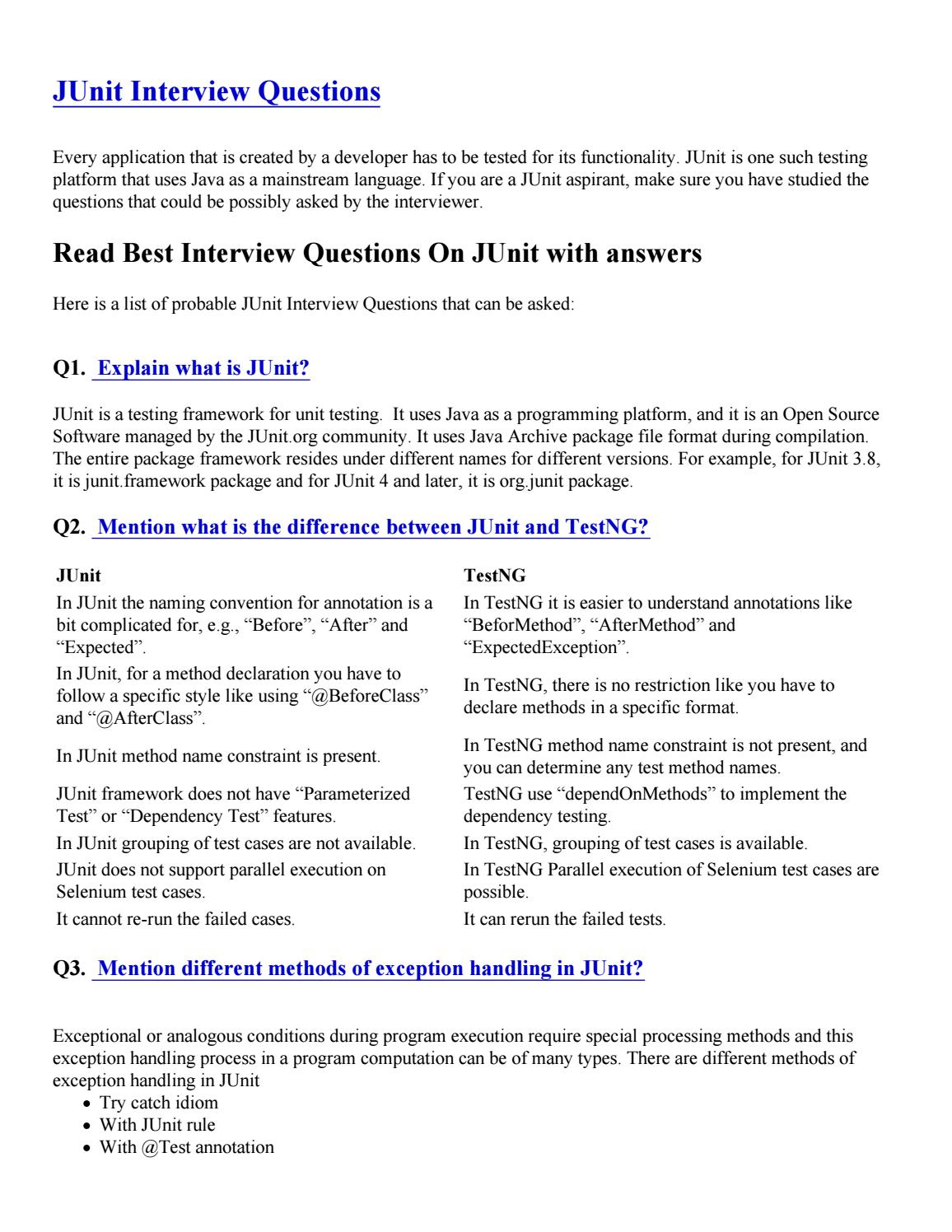 JUnit Interview Questions by mayankseo16 - issuu