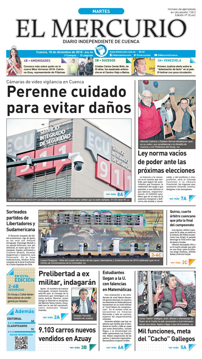 super popular 0aff7 95001 Hemeroteca-18-12-2018 by Diario El Mercurio Cuenca - issuu