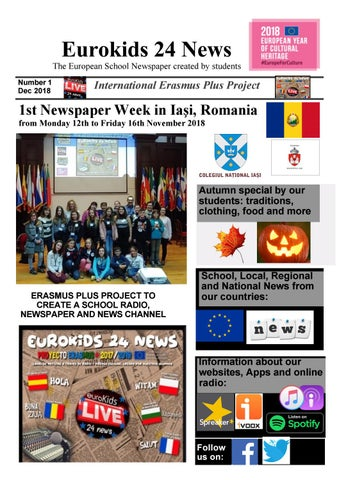 1st International edition - Eurokids 24 News - 18th Dec 2018 by