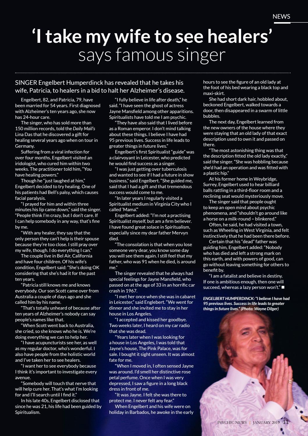 Psychic News January 2019 free story-Engelbert Humperdinck