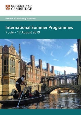 Cambride University International Summer Programmes 2019 Prospectus