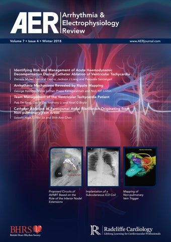 Page 1 of Arrhythmia & Electrophysiology Review Volume 7 Issue 4 Winter 2018