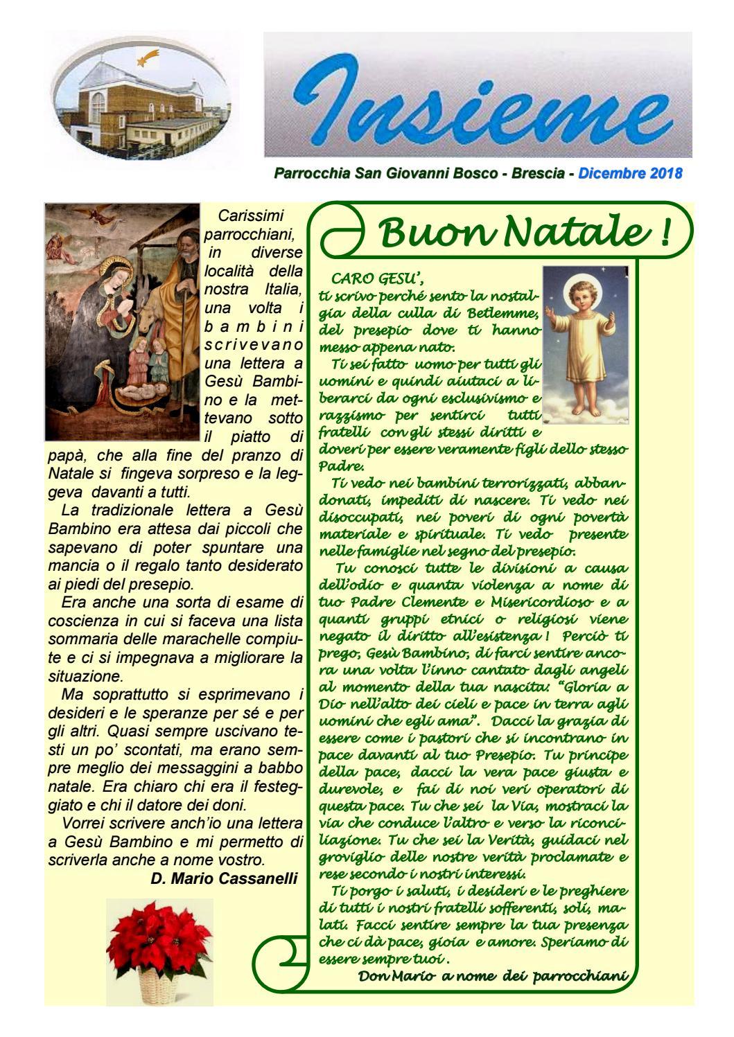 Canzone Auguriamoci Buon Natale.Don Bosco Brescia Insieme Bollettino Parrocchiale Natale 2018 By Oratorio Don Bosco Brescia Issuu