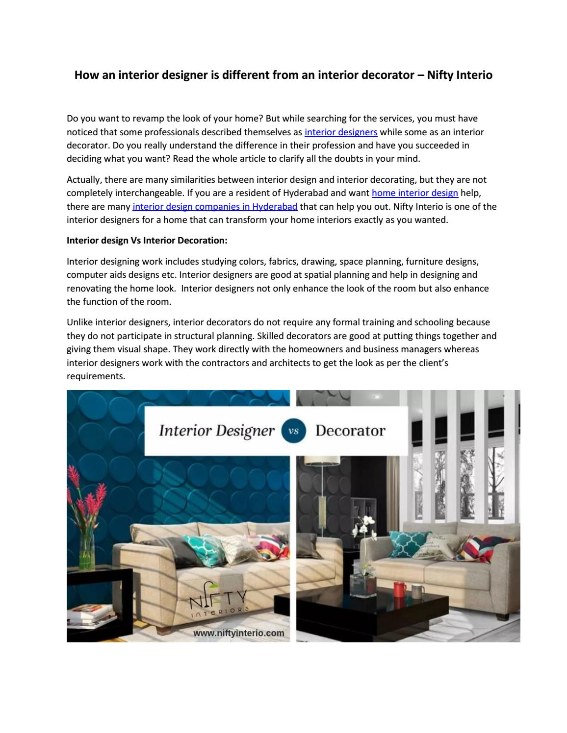 How An Interior Designer Is Different From An Interior Decorator Nifty Interio By Niftyinterio Issuu