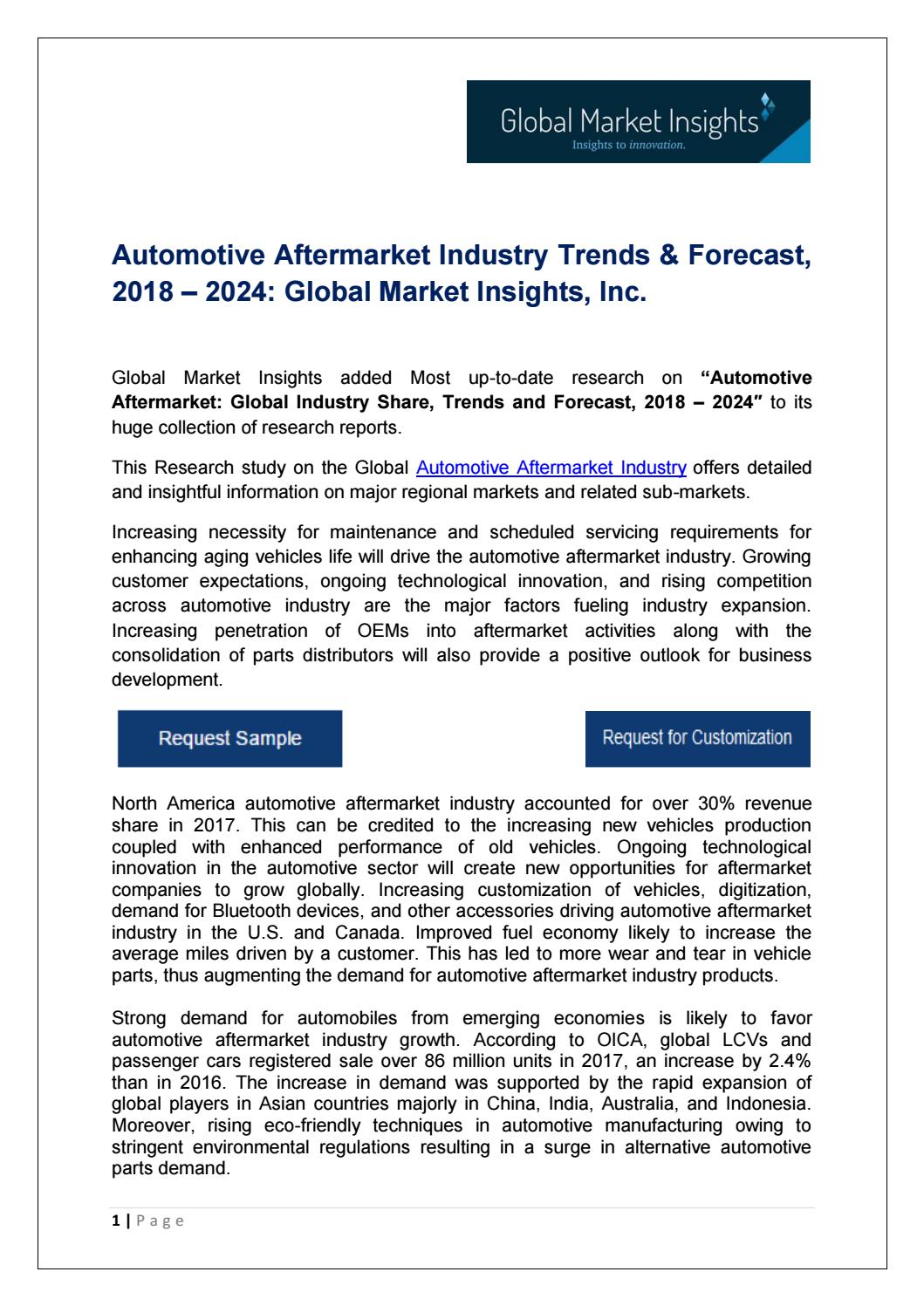 Automotive Aftermarket Industry Trends & Forecast, 2018