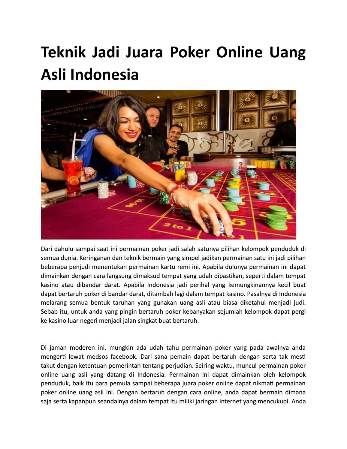 Teknik Jadi Juara Poker Online Uang Asli Indonesia Vebuka Com