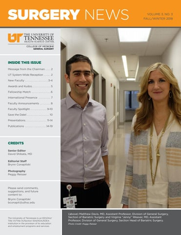 Department of Surgery Newsletter - Fall/Winter 2018 by University of