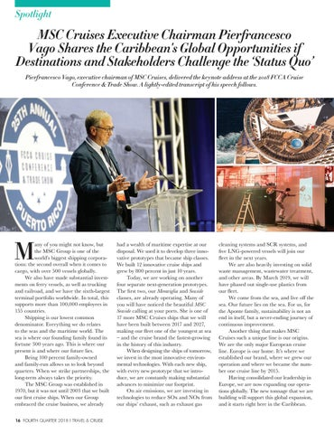 Page 18 of MSC Cruises Executive Chairman Pierfrancesco Vago tells the Caribbean has Global Opportunities if Destinations and Stakeholders Challenge the 'Status Quo'