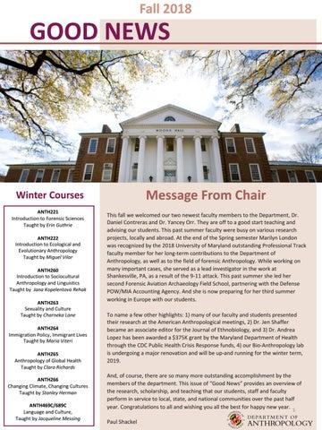 Umd Calendar Fall 2020.Umd Anth Good News Fall 18 By Umd College Of Behavioral
