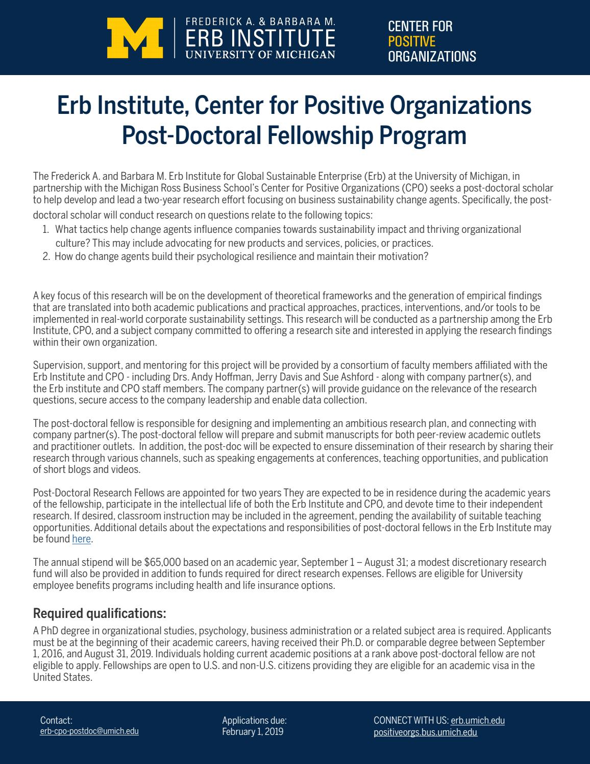 Erb Institute, Center for Positive Organizations Post