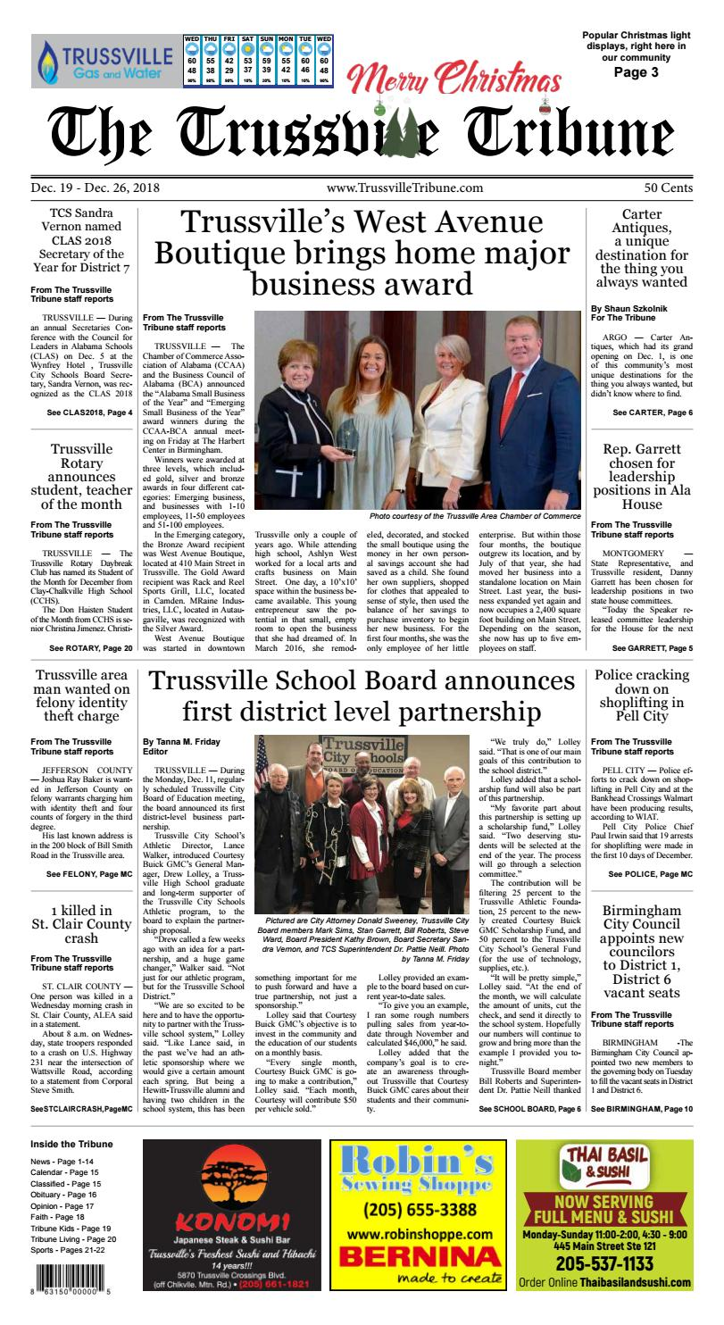 The Trussville Tribune - Dec  19, 2018 by Mike Kurov - issuu