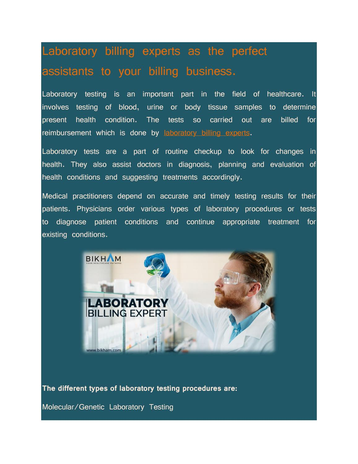 LABORATORY BILLING EXPERTS AS THE PERFECT ASSISTANTS TO YOUR