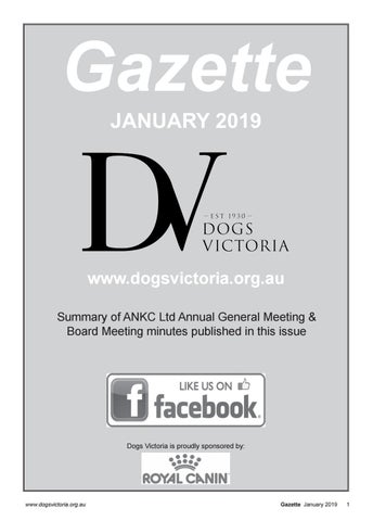 Dogs Victoria Gazette - January 2019 by Dogs Victoria - issuu