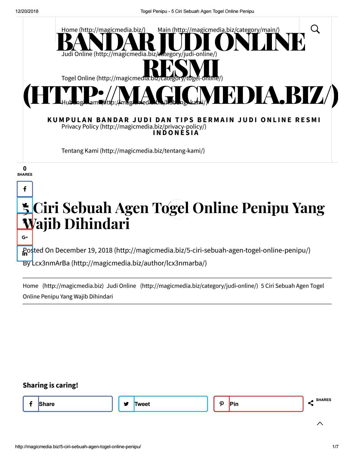5 Ciri Sebuah Agen Togel Online Penipu Yang Wajib Dihindari By Bintangdomino Issuu