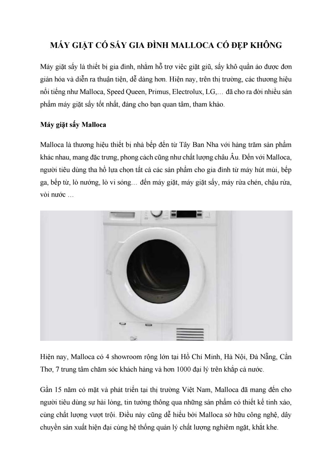 Máy giặt có sấy gia đình Malloca có đẹp không by hhanh9450 - issuu