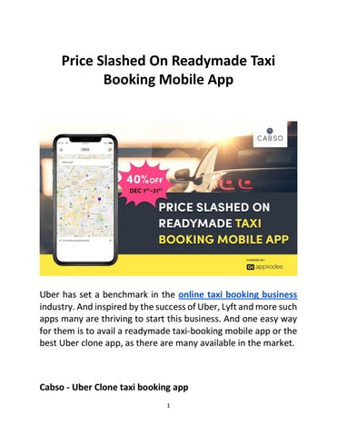 Price Slashed On Readymade Taxi Booking Mobile App by benita terah
