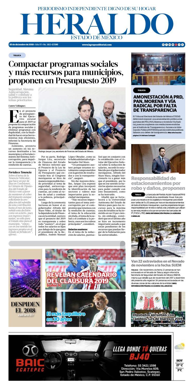 Jueves 20 Diciembre 2018 by Heraldo Estado de México - issuu 90ae8b33185