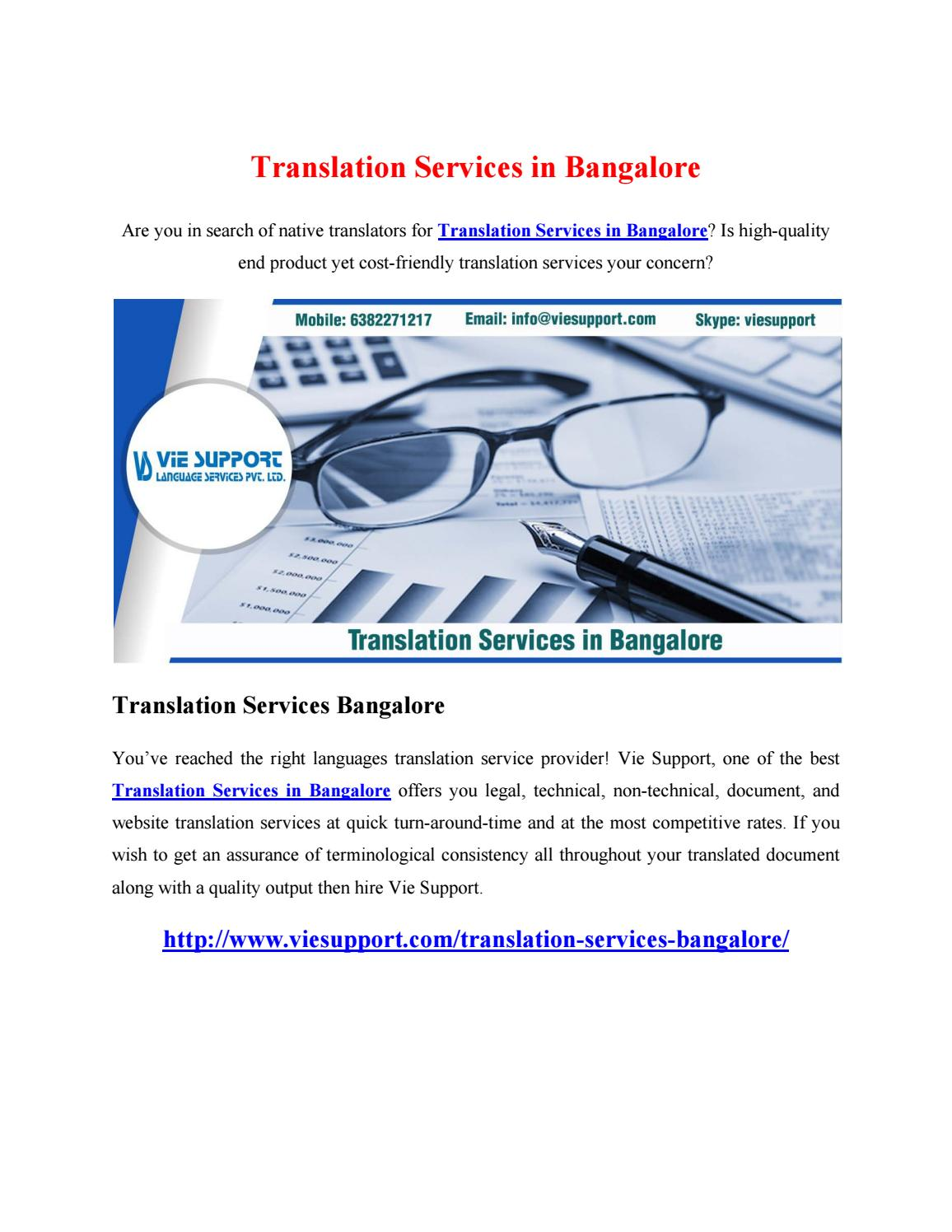 Translation Services in Bangalore by Vie Support Language