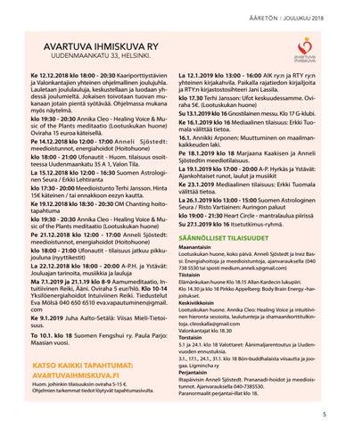 Page 5 of Avartuva Ihmiskuva - Tapahtumakalenteri Joulukuu18 - Tammikuu19