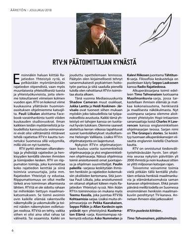 Page 6 of RTV:n päätoimittajan kynästä
