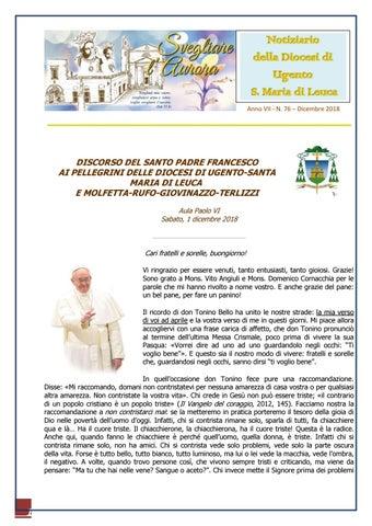 ca3f265f7c Anno VII - N. 76 – Dicembre 2018. DISCORSO DEL SANTO PADRE FRANCESCO AI  PELLEGRINI DELLE DIOCESI DI UGENTO-SANTA ...