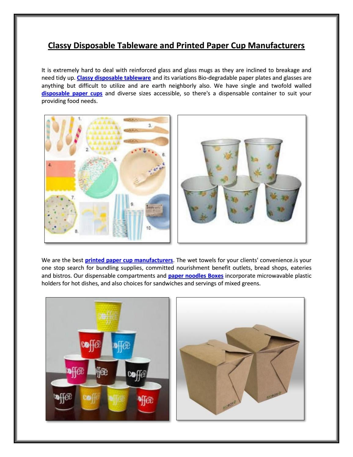 Classy Disposable Tableware and Printed Paper Cup