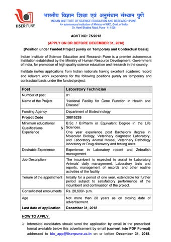 BSc Life Sciences Lab Technician Post Vacant @ IISER Pune by