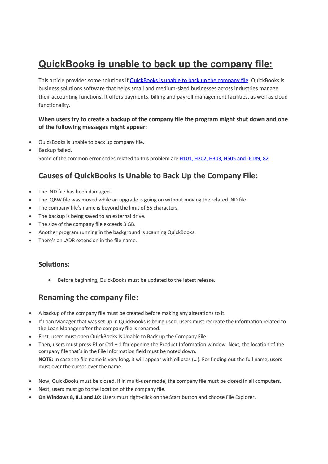 QuickBooks is unable to back up the company file: by Sadio