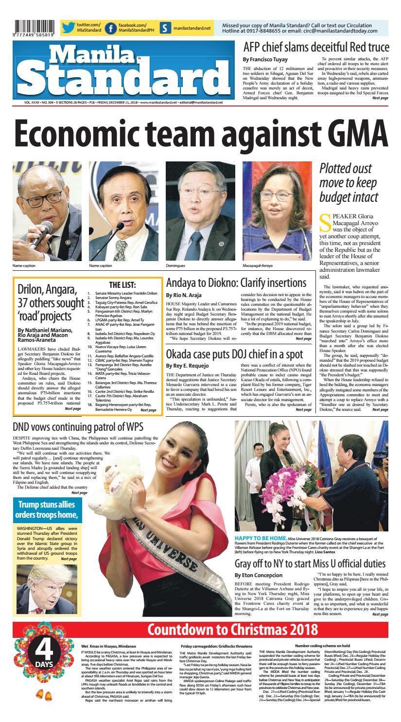 Manila Standard - 2018 December 21 - Friday by Manila Standard - issuu