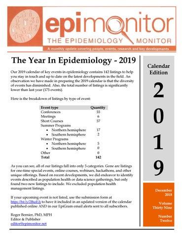 2019 Epidemiology Event Calendar from The Epidemology