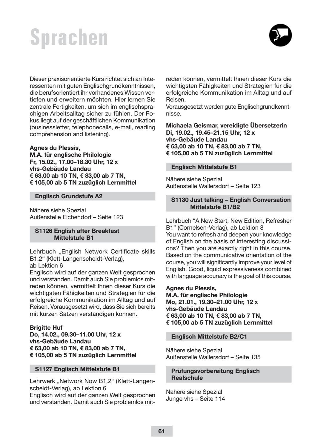 Programmheft der vhs landau a d isar Frühjahr/Sommer 2019 by