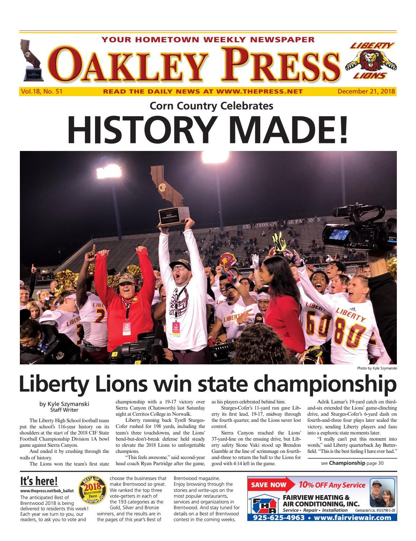 Oakley Press 12 21 18 by Brentwood Press & Publishing - issuu