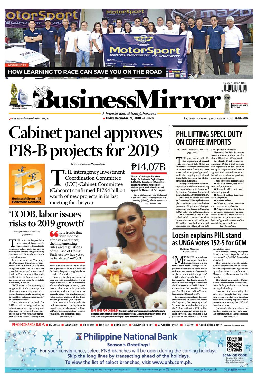 Businessmirror December 21, 2018 by BusinessMirror - issuu
