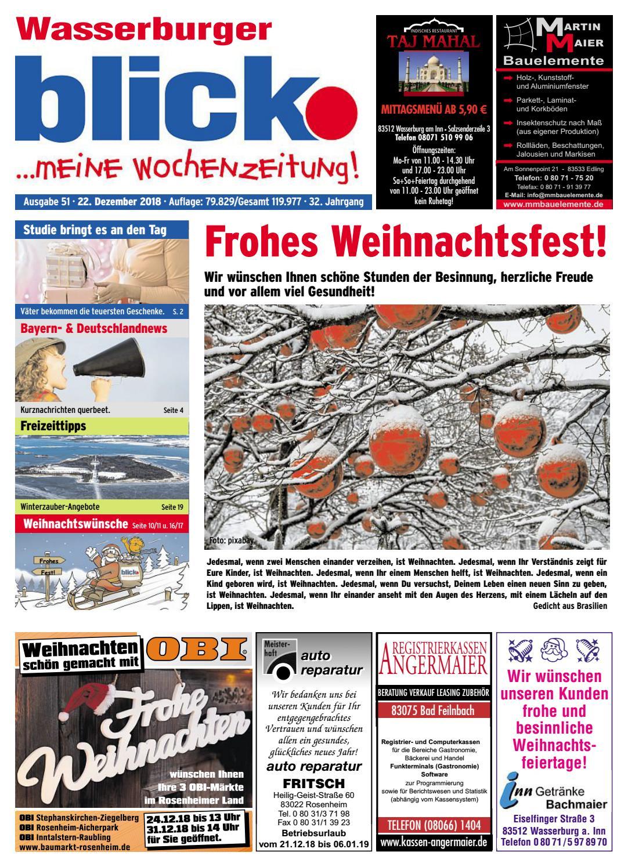 Wasserburger Blick Ausgabe 51 2018 By Blickpunkt Verlag
