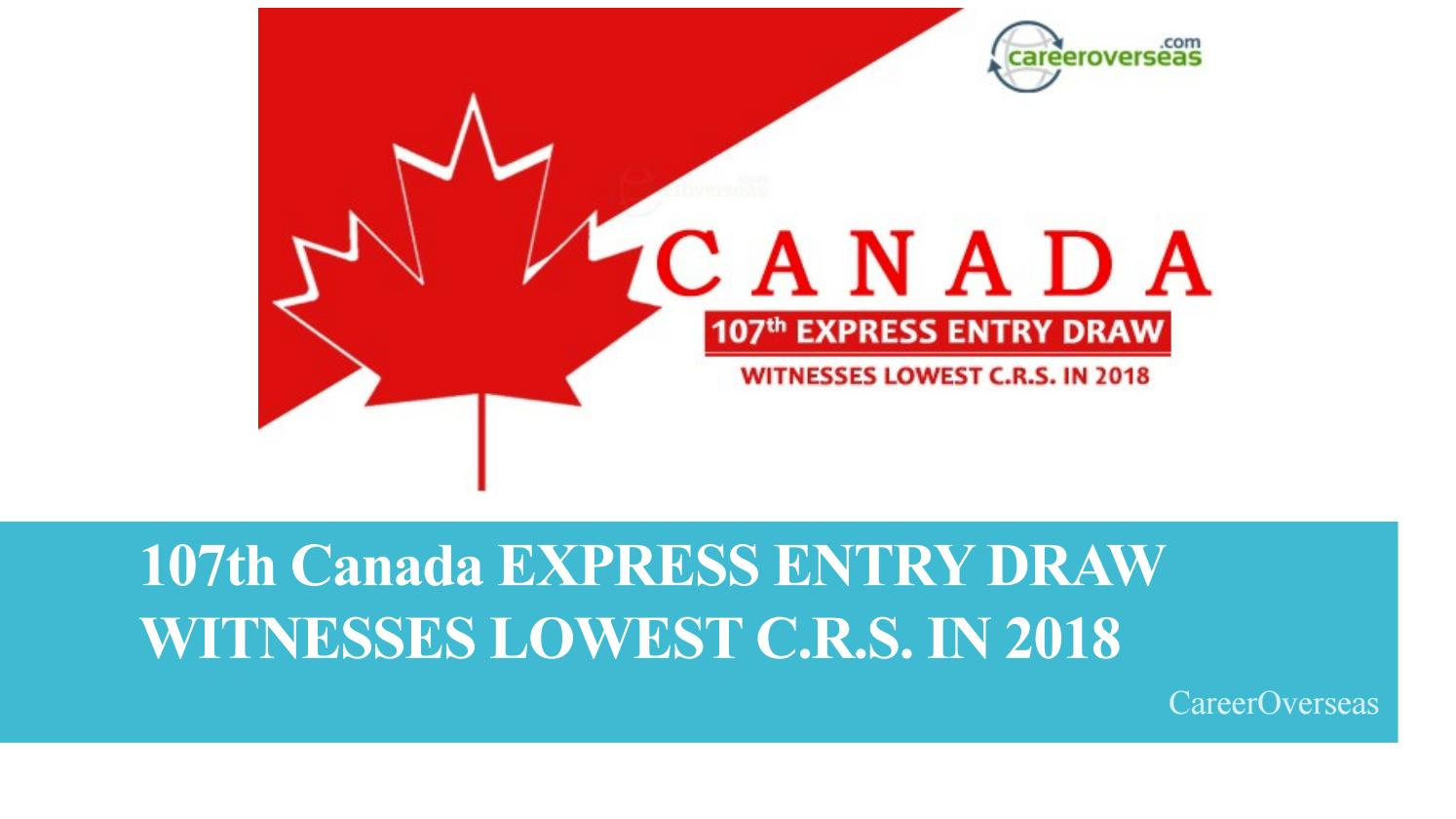 107th Canada EXPRESS ENTRY DRAW WITNESSES LOWEST C R S  IN
