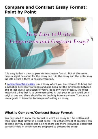 Compare And Contrast Essay Format Point By Point By Linda S Davis