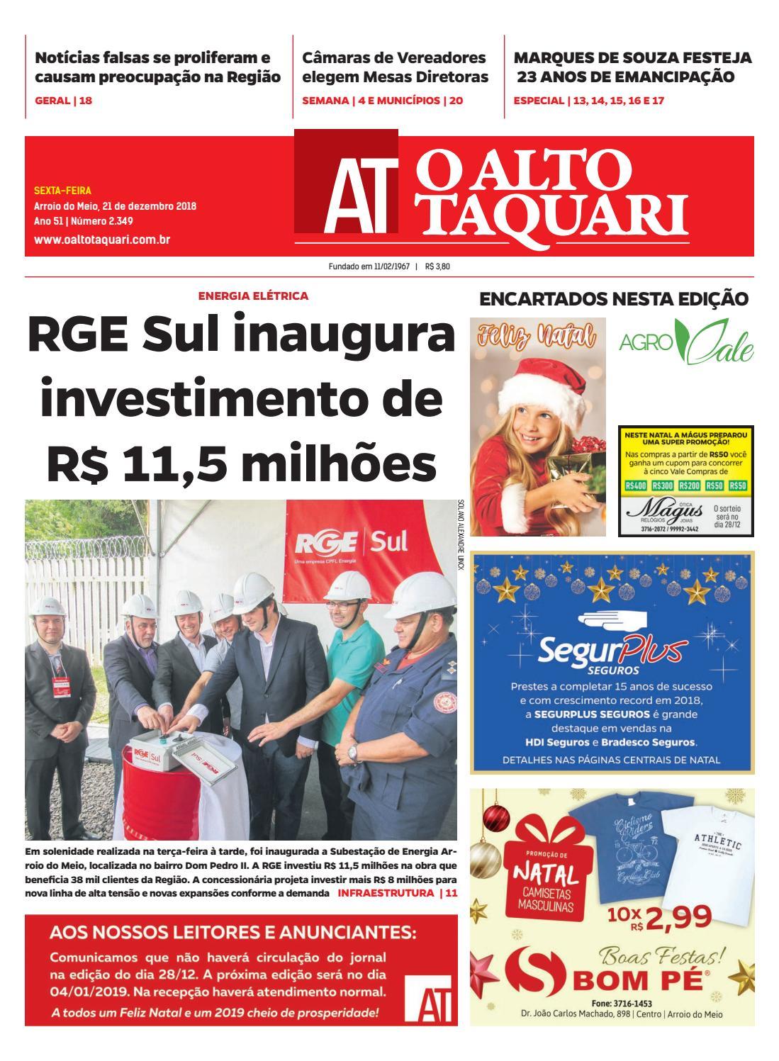 2e4ef192f0 Jornal O Alto Taquari - 21 de dezembro de 2018 by Jornal O Alto Taquari -  issuu