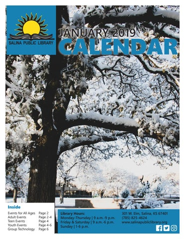 Salina Public Library January 2019 Calendar by Salina Public