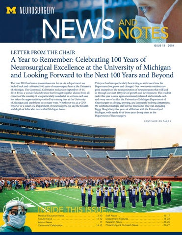 175030507c1 2018 Annual Neurosurgery Newsletter by Michigan Medicine - issuu