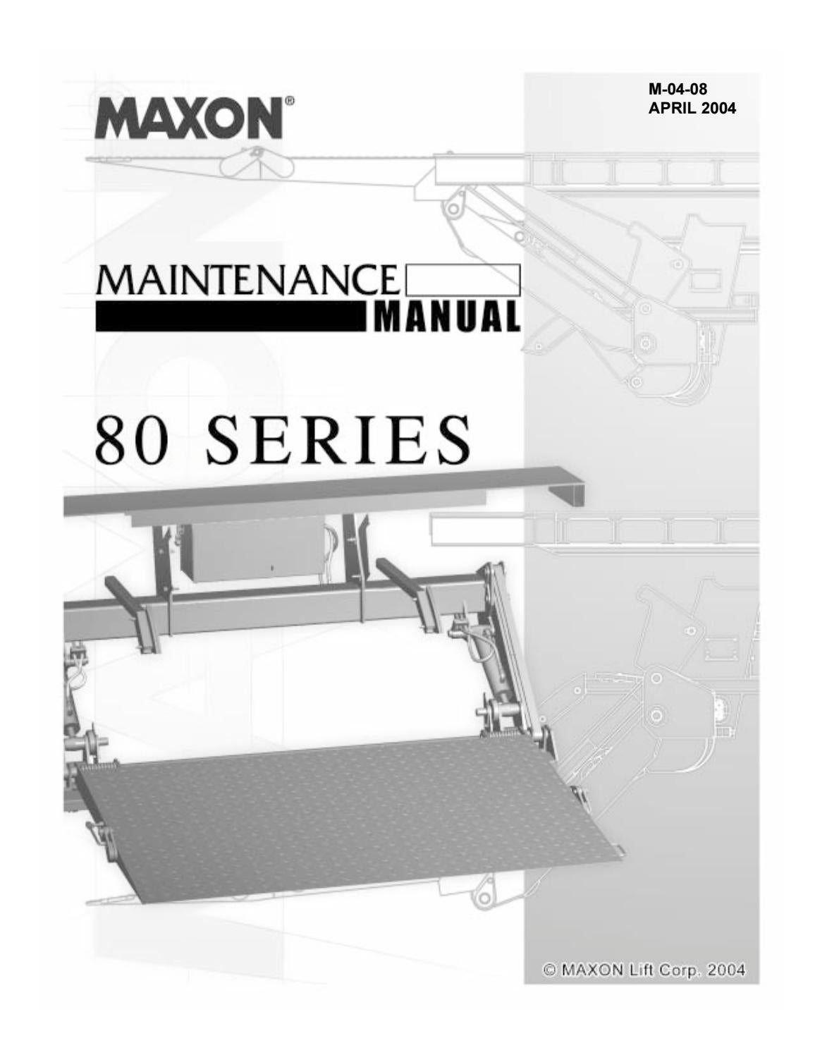 maxon 80 series tuckaway liftgate parts manual by the liftgate parts