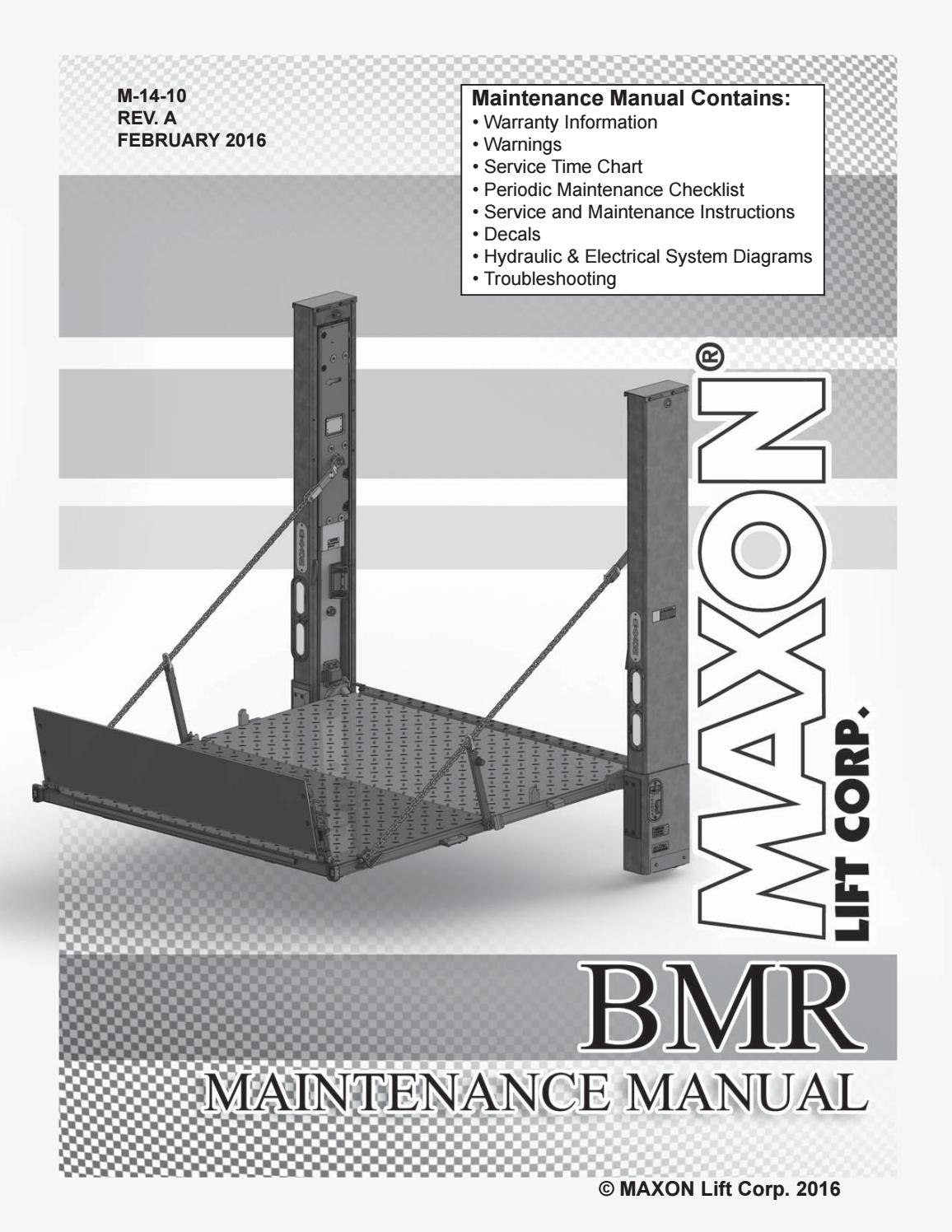 Maxon Bmr Series Liftgate Parts Manual