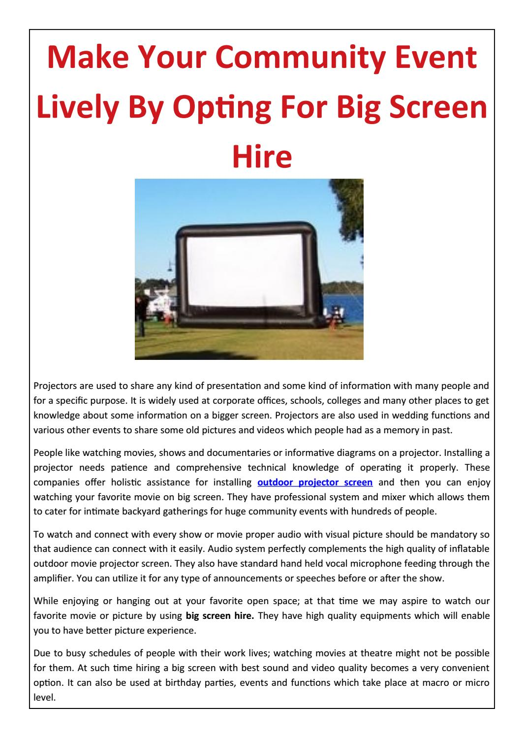 Make Your Community Event Lively By Opting For Big Screen