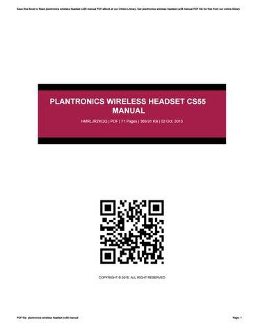 Plantronics Cs55 Instructions Manual