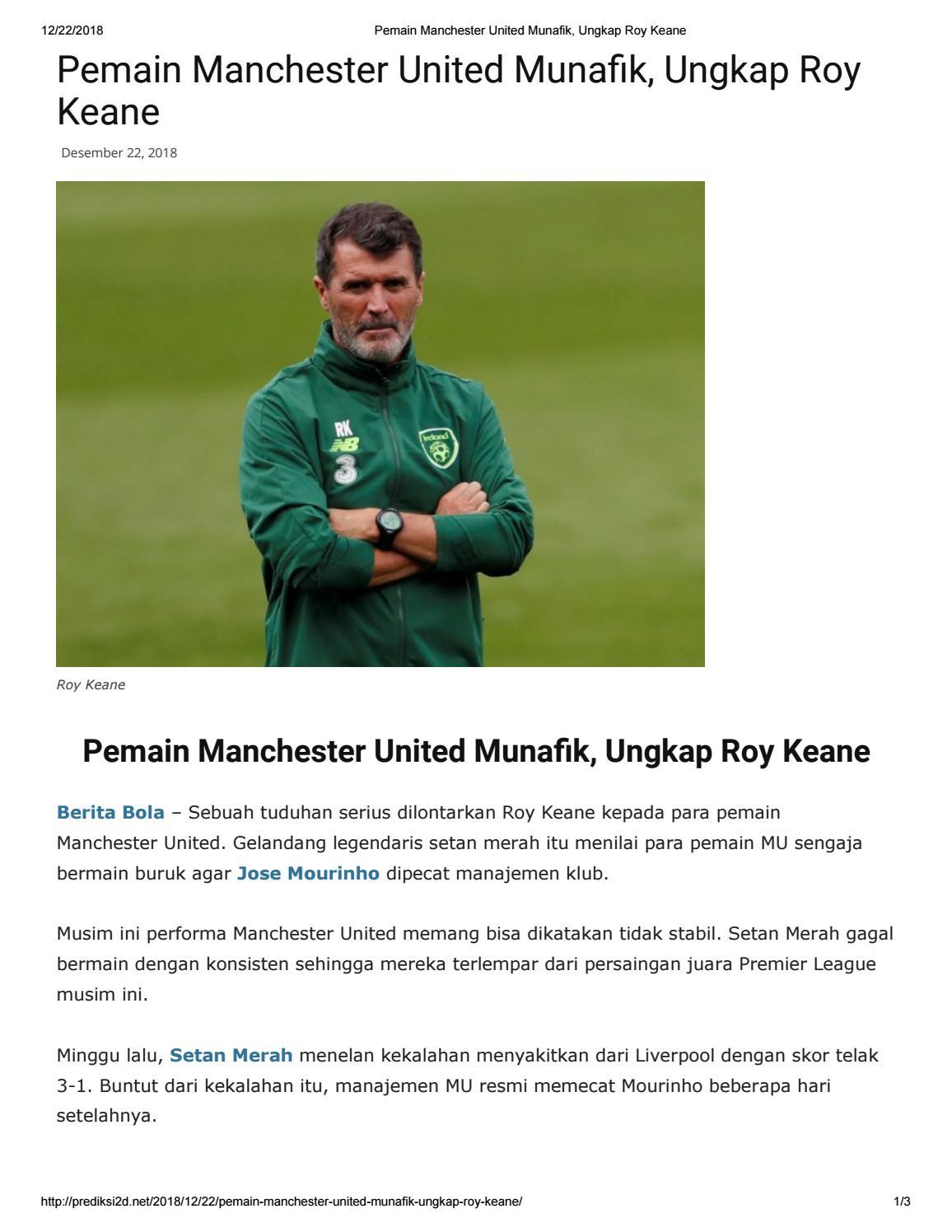 Pemain Manchester United Munafik Ungkap Roy Keane By