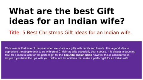 What are the best Gift ideas for an Indian wife