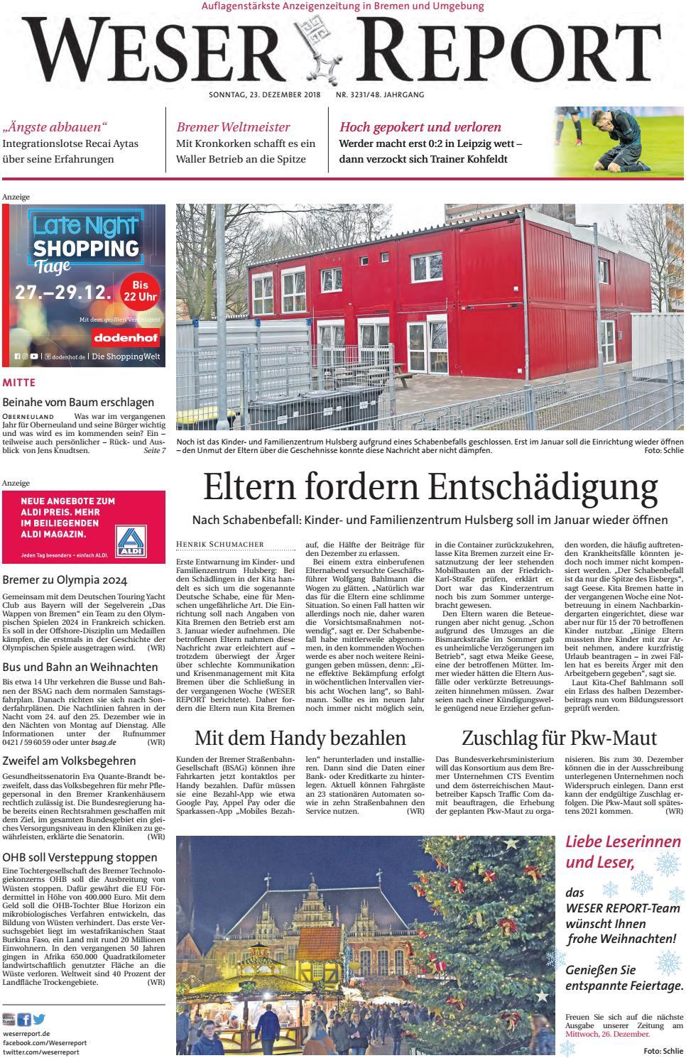Weser Report - Mitte vom 23.12.2018 by KPS Verlagsgesellschaft mbH ...