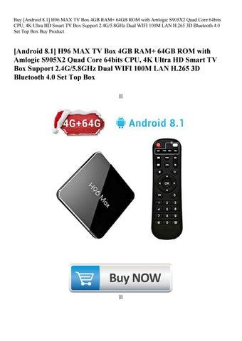 Buy [Android 8 1] H96 MAX TV Box 4GB RAM+ 64GB ROM with Amlogic