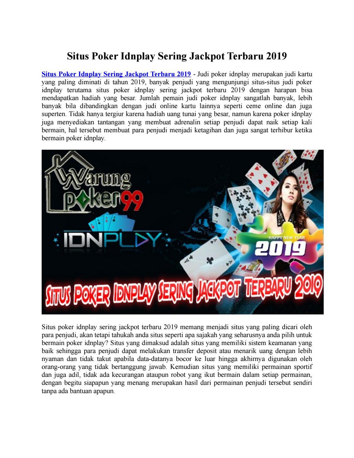 Situs Poker Idnplay Sering Jackpot Terbaru 2019 Dewa Qq By Dewapoker99 Situs Poker99 Server Idnplay Issuu
