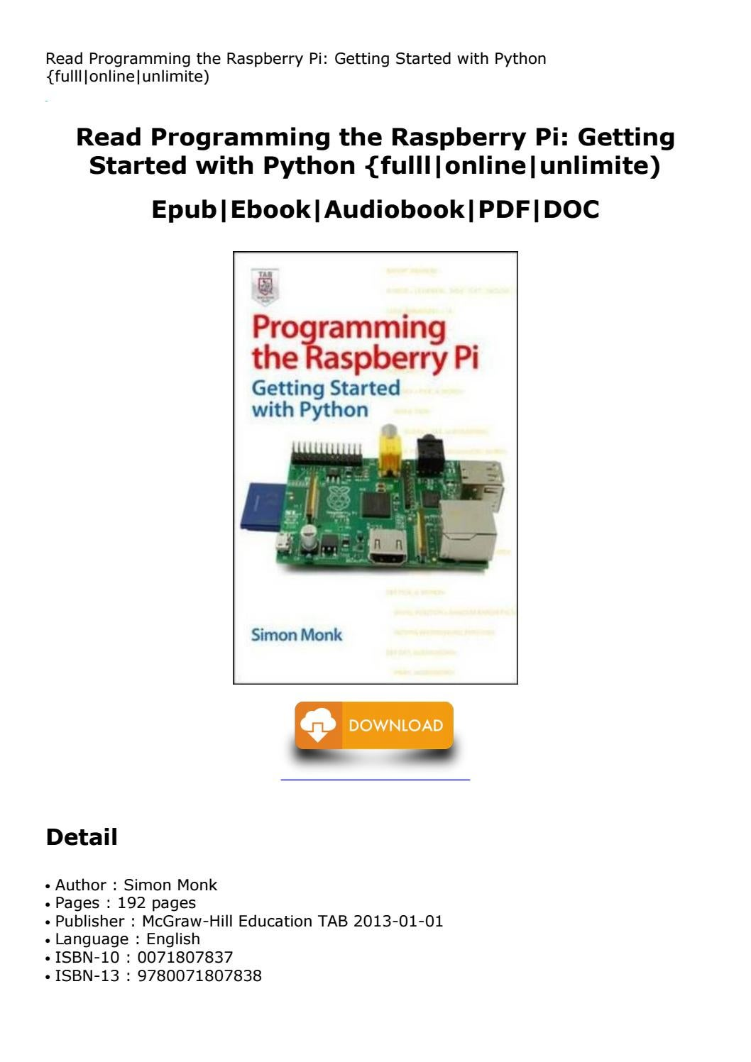 Programming The Raspberry Pi Getting Started With Python By Nando181410 Issuu